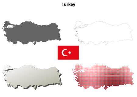 トルコ概要地図セット  イラスト・ベクター素材