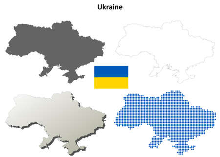 coastline: Ukraine outline map set