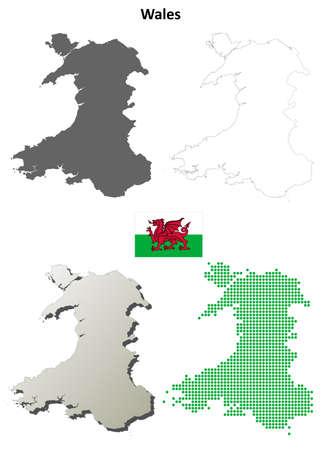 bandera de gran bretaña: Gales del espacio en blanco del vector mapa detallado conjunto contorno