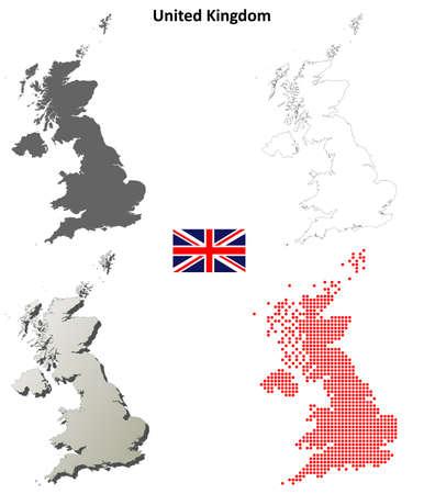United Kingdom outline map set