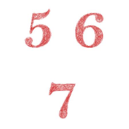 5 6: Red sketch font design set - numbers 5, 6, 7 Illustration