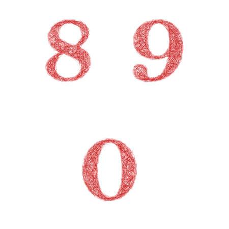 0 9: Red sketch font design set - numbers 8, 9, 0 Illustration
