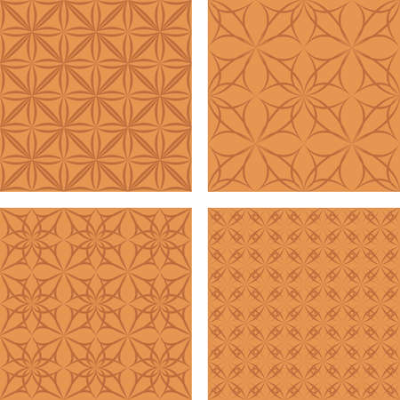 Copper color abstract seamless pattern background set