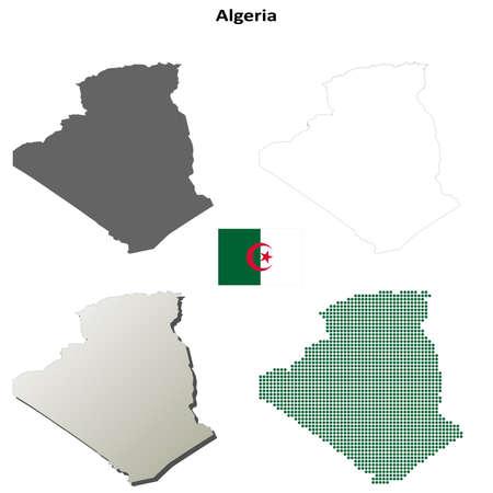 algerian flag: Algeria blank detailed vector outline map set