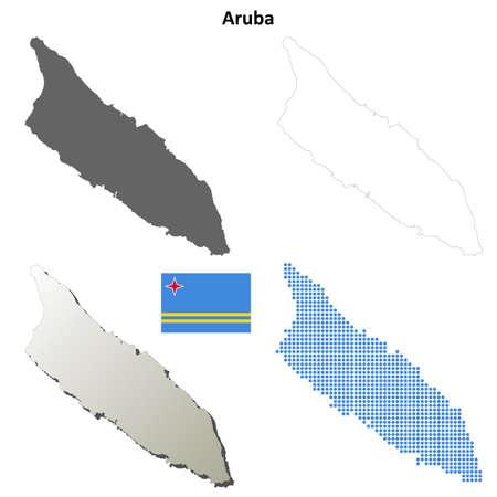 antilles: Aruba blank detailed vector outline map set