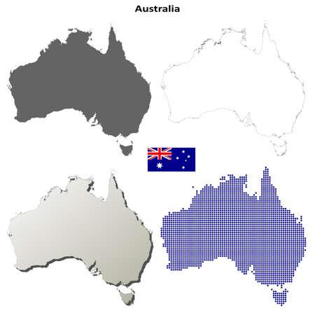 down under: Australia blank detailed vector outline map set