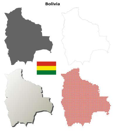 mapa de bolivia: Bolivia en blanco vector mapa detallado conjunto contorno Vectores