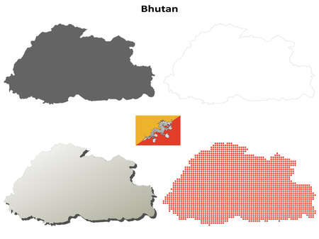 state boundary: Bhutan blank detailed vector outline map set
