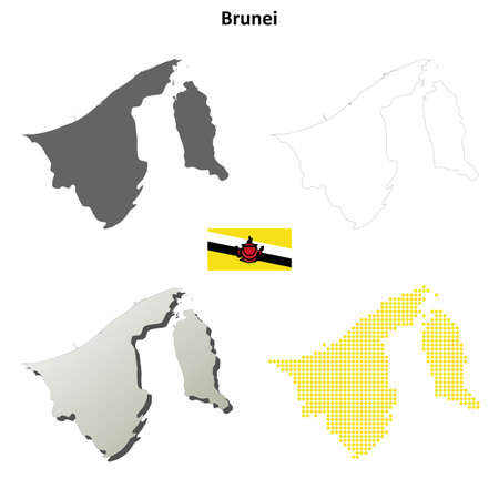 map of brunei: Brunei blank detailed vector outline map set