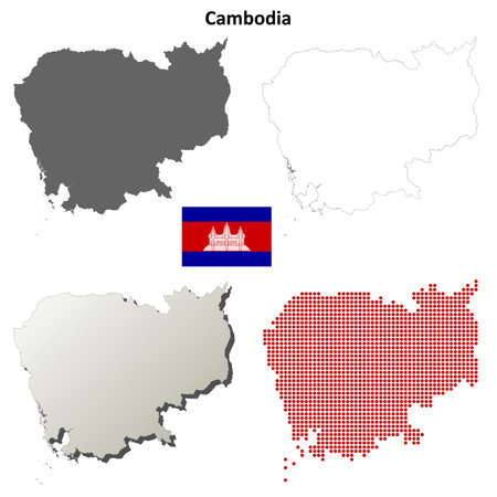 coastlines: Cambodia blank detailed vector outline map set