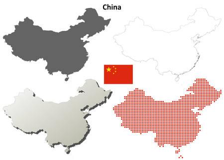 中国詳細なベクトルの空白概要地図セット