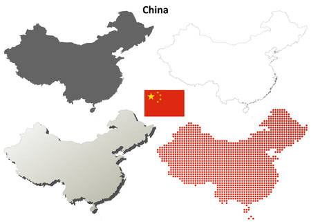 China lege vector gedetailleerde overzichtskaart set Stock Illustratie
