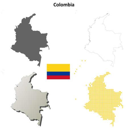 coastline: Colombia blank detailed vector outline map set