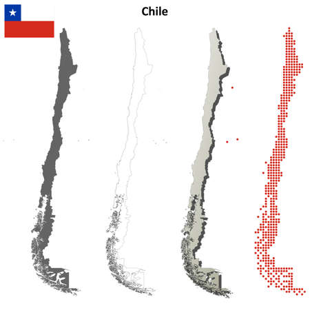 chile: Chile blank detailed vector outline map set