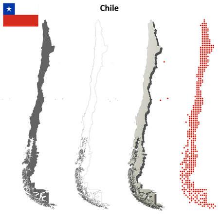 bandera de chile: Chile en blanco vector mapa detallado conjunto contorno