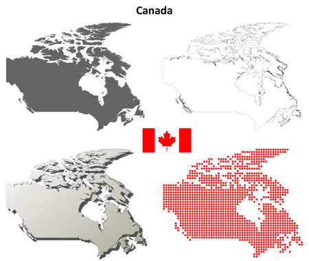 detailed: Canada blank detailed vector outline map set