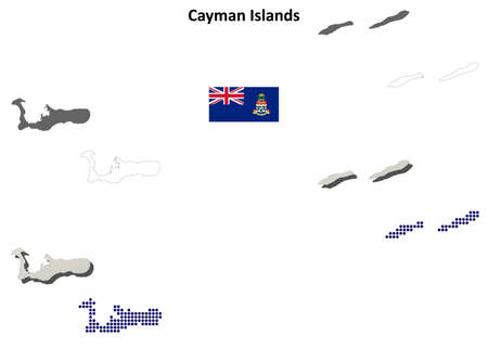 georgetown: Cayman Islands blank detailed vector outline map set