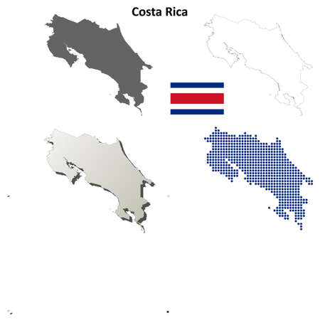 costa rica: Costa Rica blank detailed outline map set