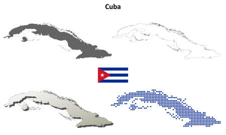 cuban flag: Cuba blank detailed vector outline map set