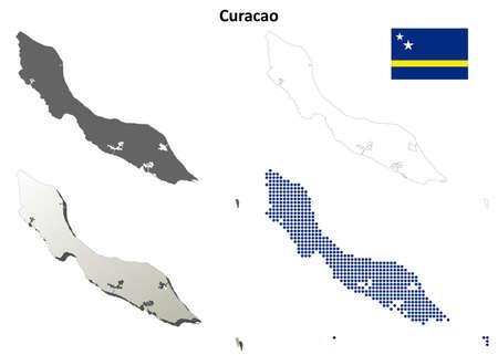 coastlines: Curacao blank detailed vector outline map set