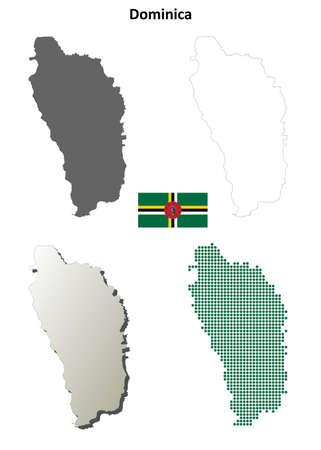 antilles: Dominica blank detailed vector outline map set