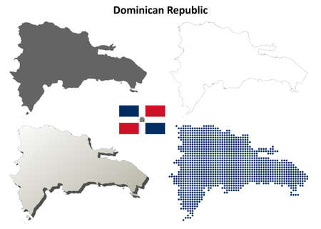 dominican: Dominican Republic blank detailed outline map set Illustration