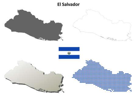 mapa de el salvador: El Salvador blanco esquema detallado conjunto de mapas Vectores