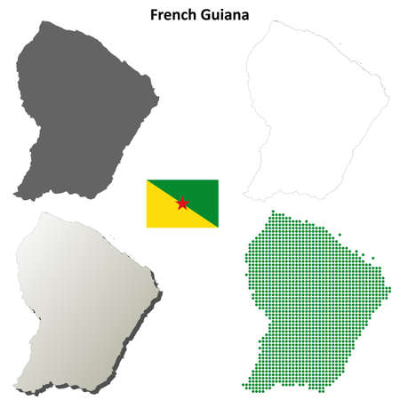 french guiana: French Guiana blank detailed outline map set