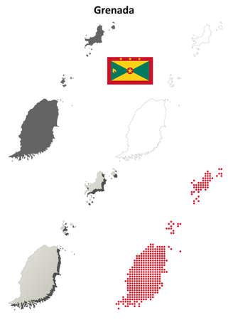 antilles: Grenada blank detailed vector outline map set Illustration