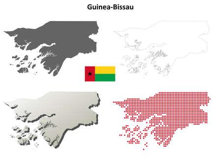 Guinea-Bissau blank detailed vector outline map set Ilustração