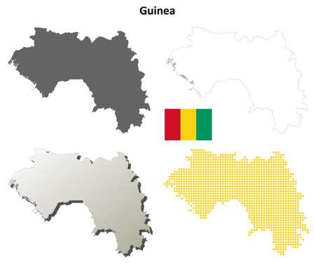 coastlines: Guinea blank detailed vector outline map set