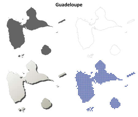 guadeloupe: Guadeloupe blank detailed vector outline map set