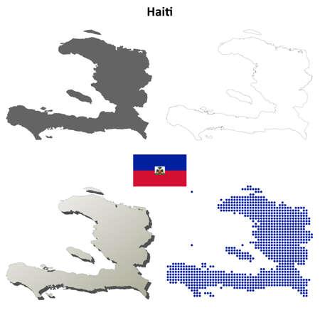 port au prince: Haiti blank detailed vector outline map set