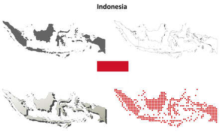 Indonesia blank detailed vector outline map set 일러스트
