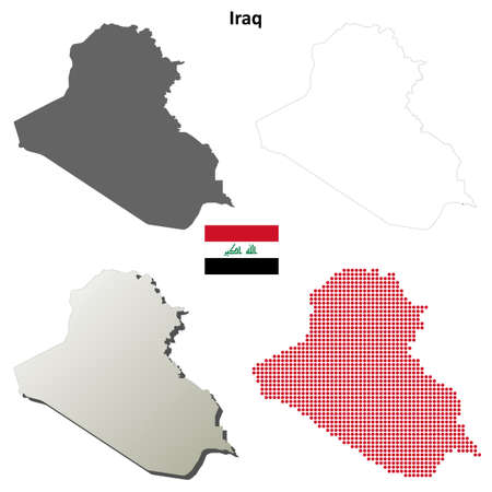 coastline: Iraq blank detailed vector outline map set