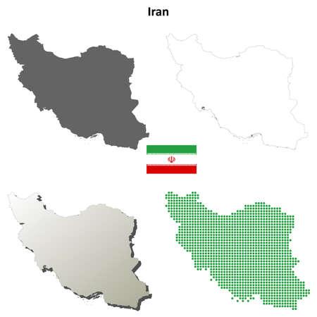 coastlines: Iran blank detailed vector outline map set Illustration