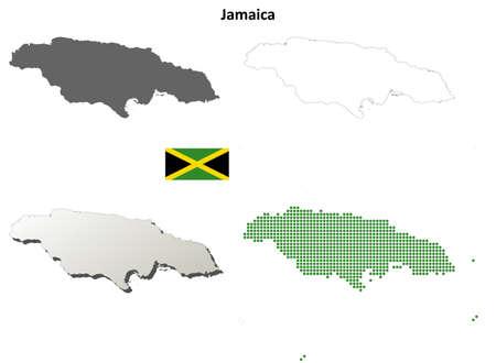 antilles: Jamaica blank detailed vector outline map set Illustration