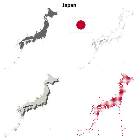 detailed: Japan blank detailed vector outline map set Illustration