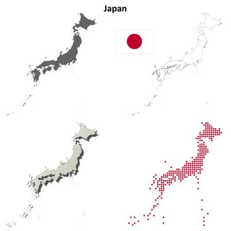 Japan blank detailed vector outline map set Illustration