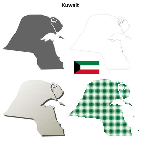 coastlines: Kuwait blank detailed vector outline map set