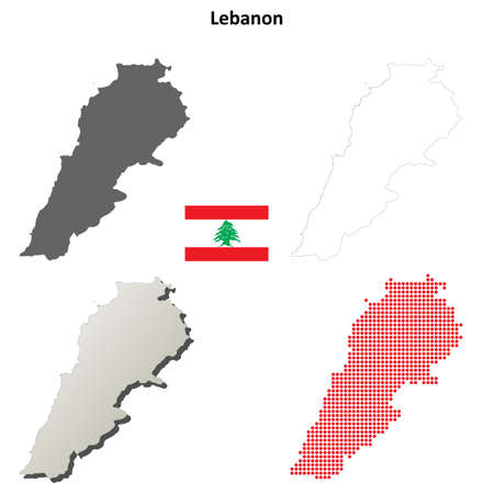 coastline: Lebanon blank detailed vector outline map set
