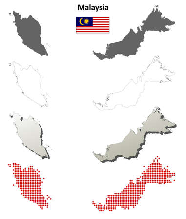 3d flag: Malaysia blank detailed vector blank detailed outline map set