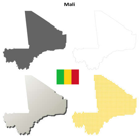 bamako: Mali blank detailed vector outline map set