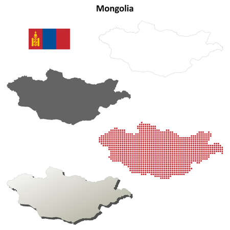 mongolia: Mongolia blank detailed vector outline map set Vectores