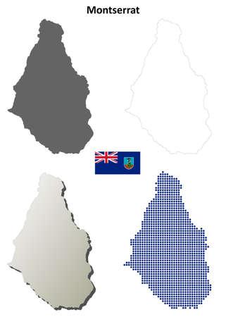 montserrat: Montserrat blank detailed vector outline map set