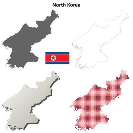 coastlines: North Korea blank detailed outline map set