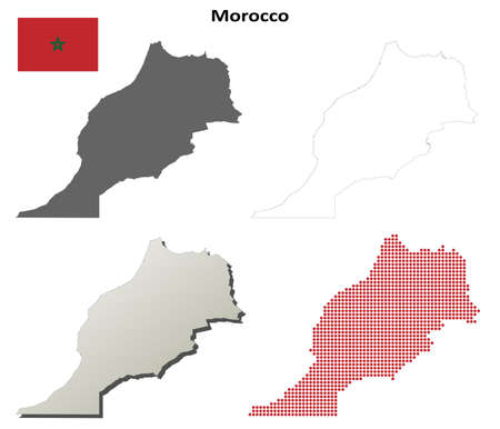 detailed: Morocco blank detailed vector outline map set