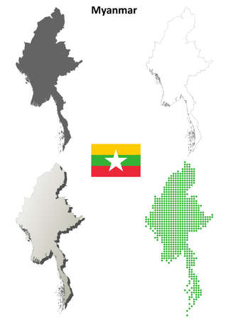 burmese: Myanmar blank detailed vector outline map set