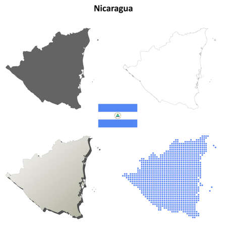 coastline: Nicaragua blank detailed vector outline map set