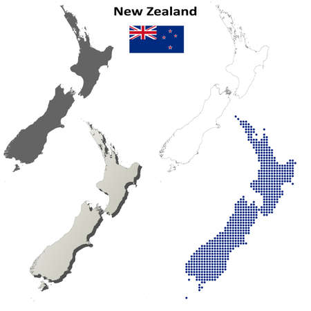 state boundary: New Zealand blank detailed vector outline map set